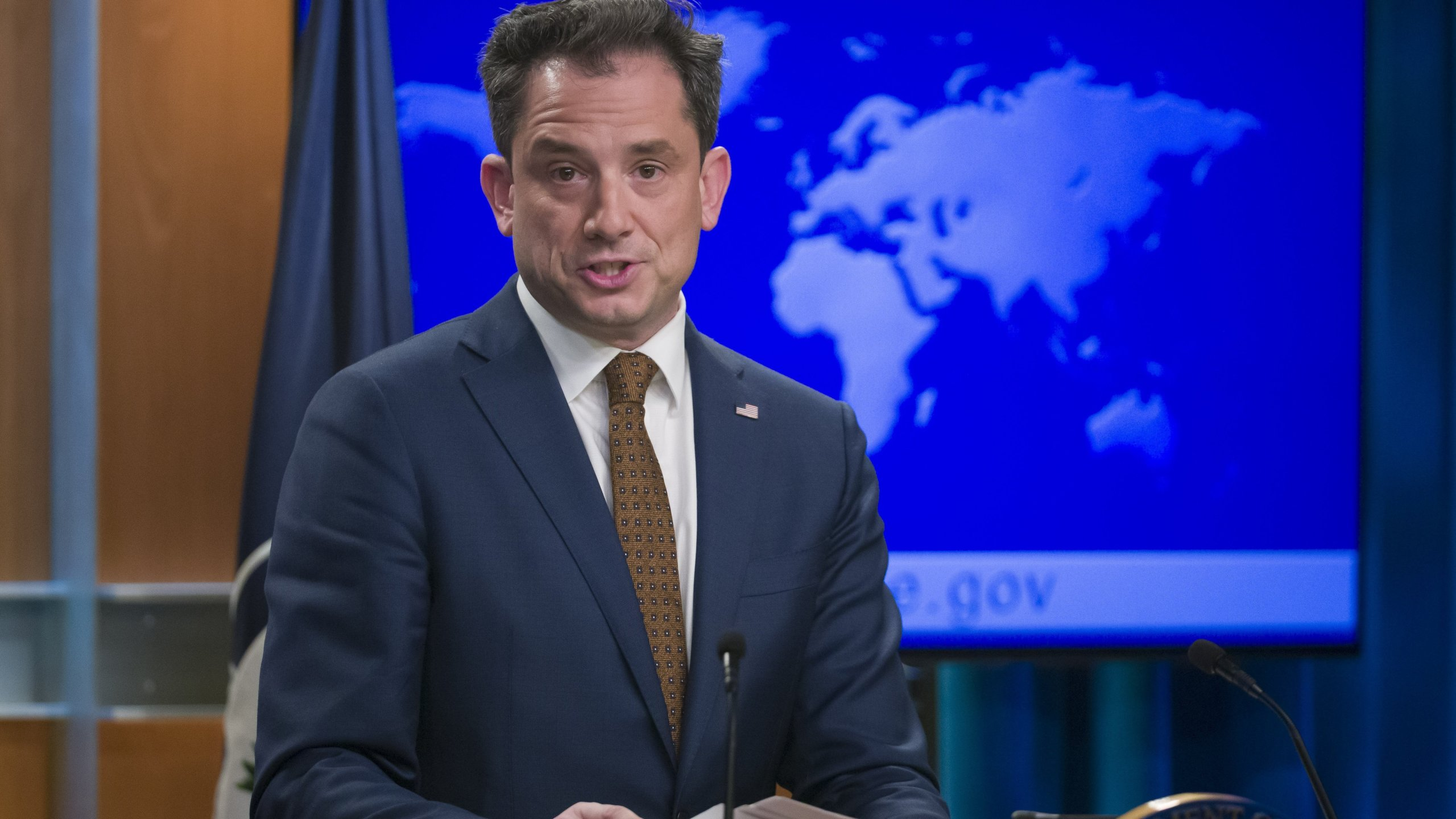 State Department Deputy Spokesperson Robert Palladino speaks as the State Department broke its silence on Thursday, holding its first public press briefing of 2019. (Credit: CNN)