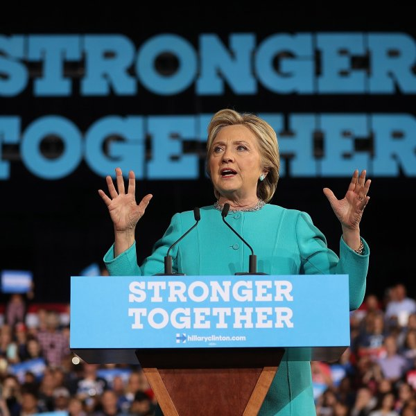 Hillary Clinton is shown on the campaign trail in this undated photo. (Credit: Justin Sullivan/Getty Images)