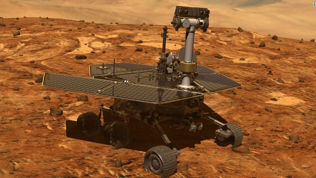 The Mars Opportunity rover is seen in an image from NASA.