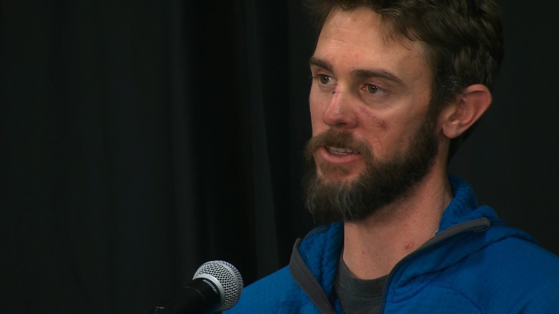 Travis Kauffman speaks about surviving a mountain lion attack in this undated photo. (Credit: CNN)