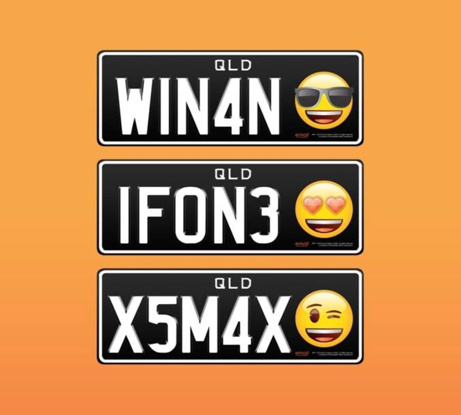 Emojis already light up text messages, social media, advertisements, even a movie. Now they're about to hit Australian roads. (Credit: Personalized Plates Queensland)