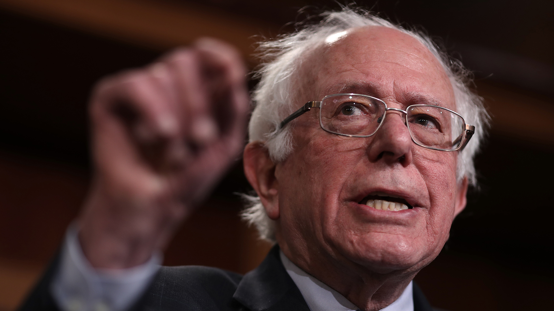 Sen. Bernie Sanders, I-Vermont, speaks during a press conference at the U.S. Capitol on January 30, 2019. (Credit: Win McNamee/Getty Images)