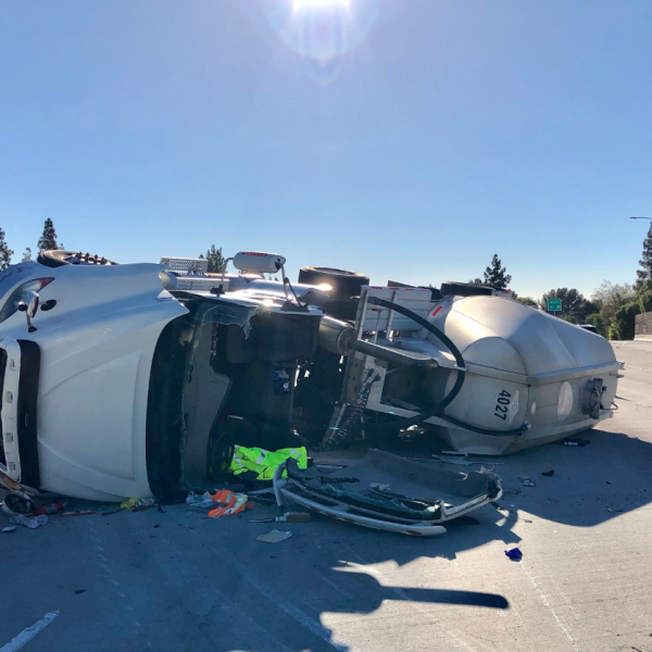 California Highway Patrol's West Valley division tweeted this image of a big rig that had overturned on State Route 118 in Granada Hills on Feb. 11, 2019.