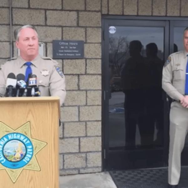 Chief Bill Dance with California Highway Patrol addresses reporters on Feb. 13, 2019 in San Bernardino. (Credit: CHP Inland Division)