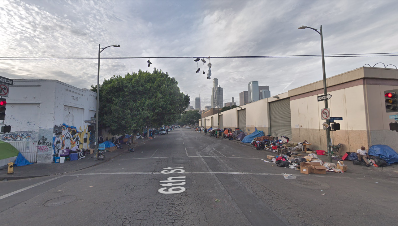 The intersection of Sixth and San Julian streets in the skid row area of downtown Los Angeles is seen in this Google Maps Street View image from January 2018.