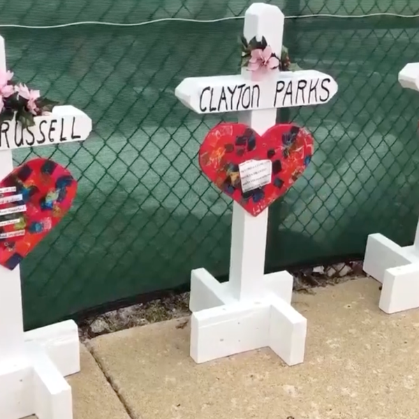 Greg Zanis made these crosses for the victims of the Aurora, Illinois shooting on Feb. 15, 2019. He previously made crosses for Vegas shooting