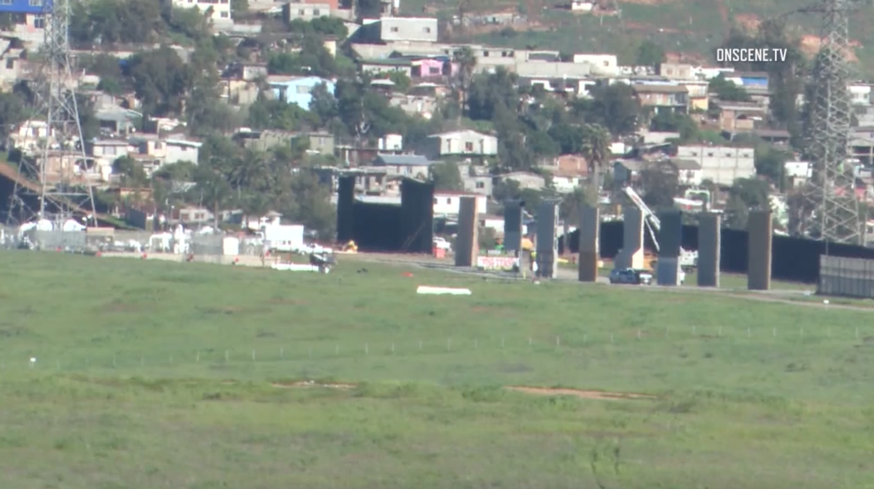 Border barrier construction was in progress at the U.S.-Mexico border in Otay Mesa, south of San Diego, on Feb. 19, 2019. (Credit: OnScene.TV via CNN)