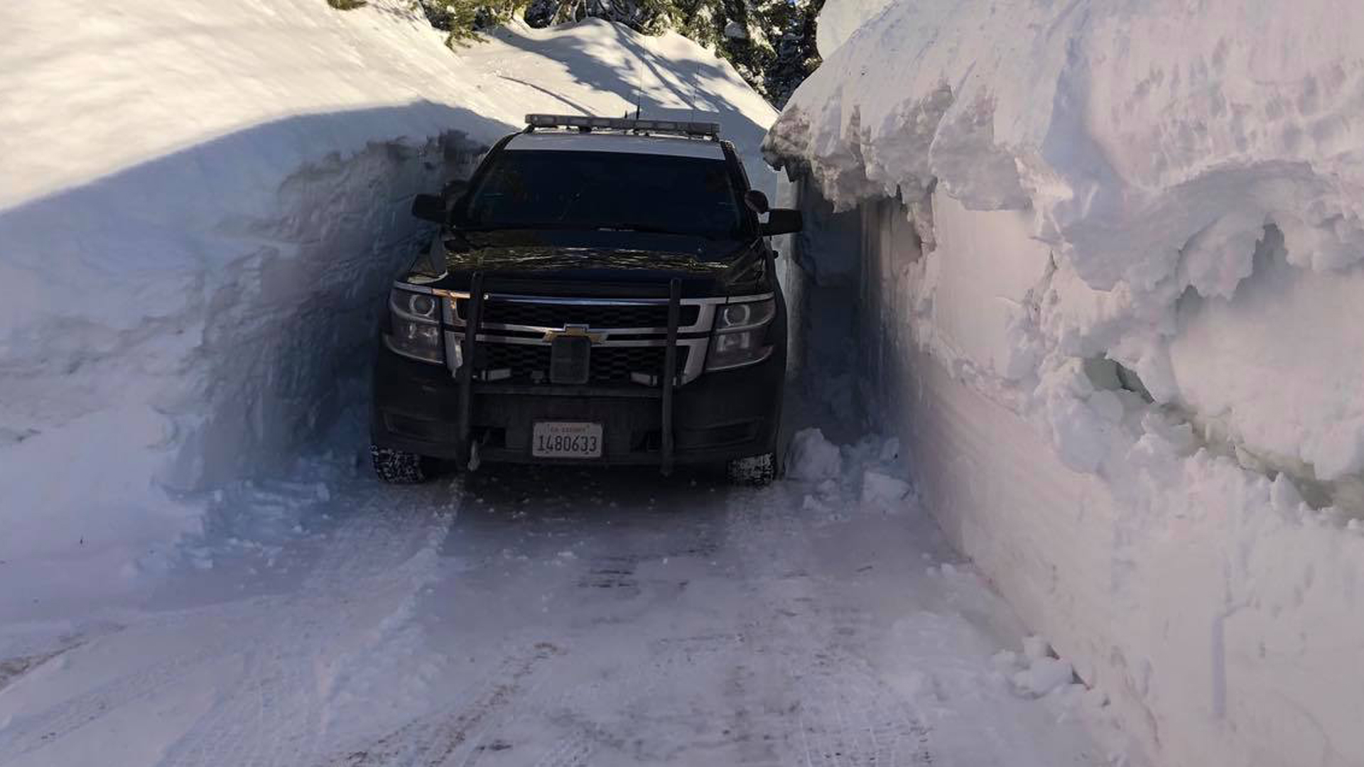 A patrol vehicle navigating a stretch of Interstate 80 in the Donner Pass area of the Sierra Nevada west of Truckee on Feb. 27, 2019. (Credit: California Highway Patrol Truckee Division/ Facebook)