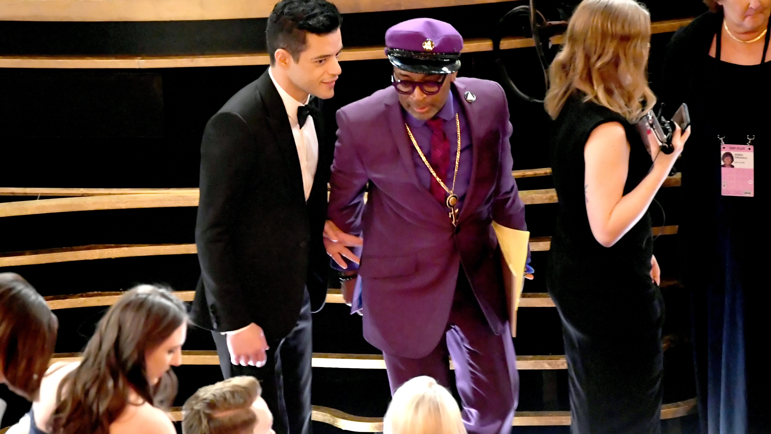 (L-R) Rami Malek and Spike Lee during the 91st Annual Academy Awards at Dolby Theatre on February 24, 2019 in Hollywood, California. (Credit: Kevin Winter/Getty Images)