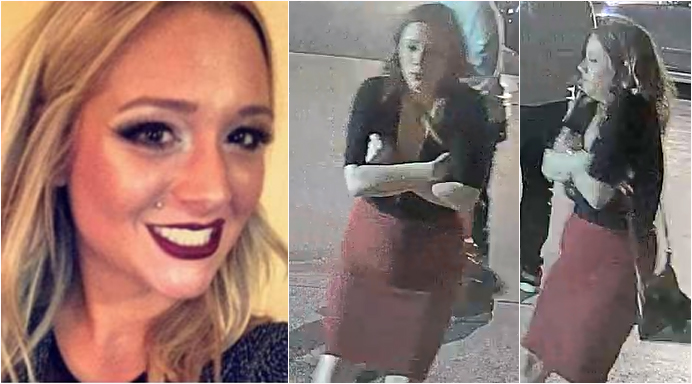 Savannah Spurlock is seen in a family photo, left, and an image of surveillance video released by police, left.