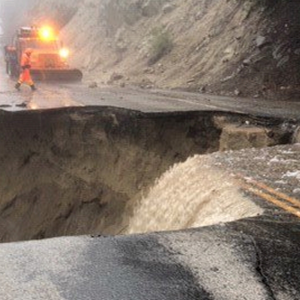 A major storm left a gaping hole in State Route 243 near Lake Fulmor on Feb. 14, 2019. (Credit: County of Riverside Emergency Management Dept.)