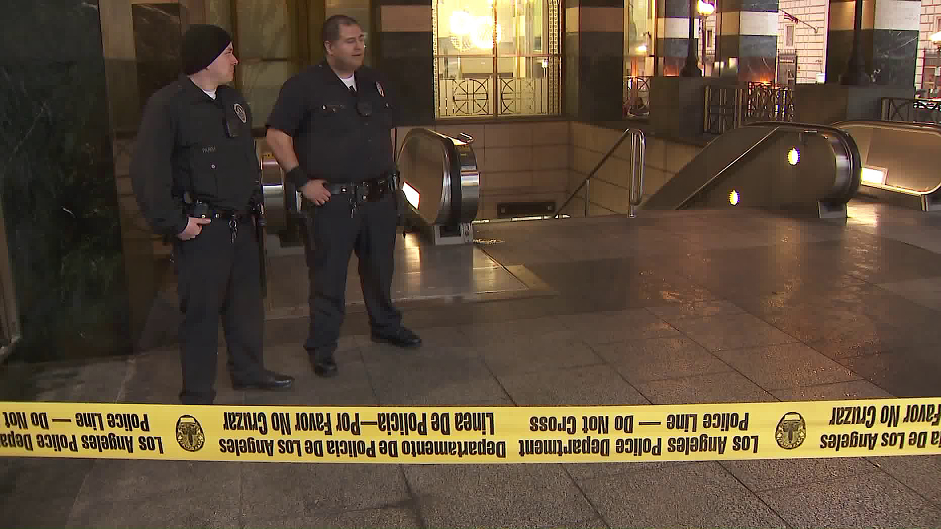 Police respond to a fatal officer-involved shooting in downtown Los Angeles on Feb. 14, 2019. (Credit: KTLA)