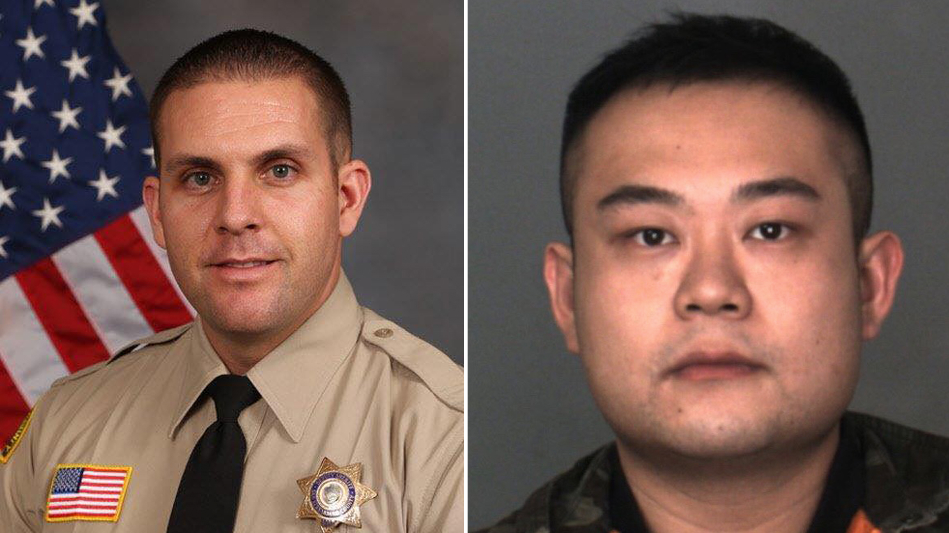 San Bernardino County Sheriff's Deputy Nicholas O'Loughlin , 28, (left) and Yijie Mao, 26, (right) are seen in undated photos provided by the Sheriff's Department and Chino Police Department on Feb. 17, 2019.