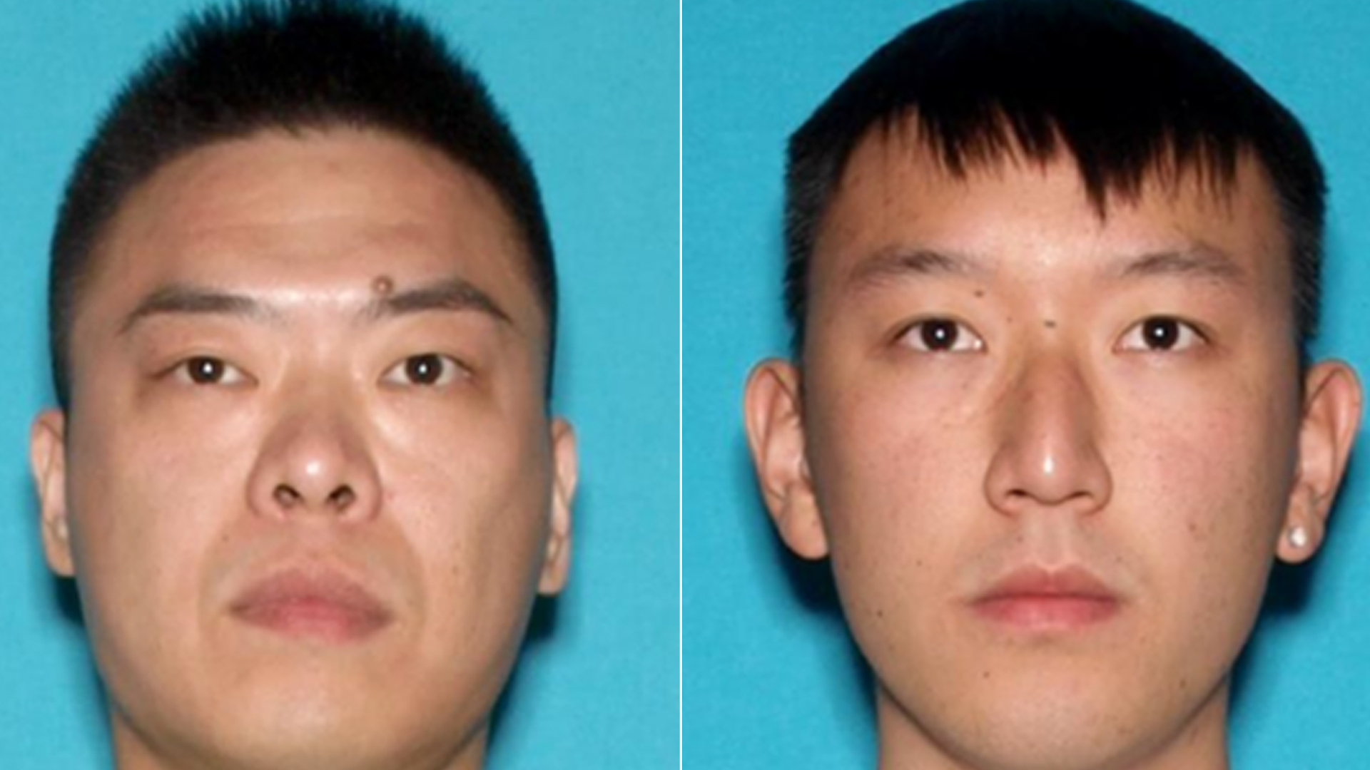 From left: Peicheng Shen and Guangyao are seen in undated photos released by the FBI.