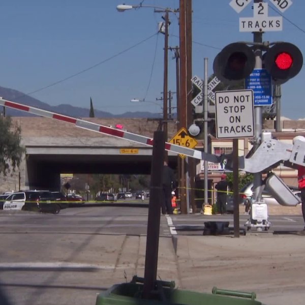 The scene of a train crash in El Monte that killed a 19-year-old man on Feb. 7, 2019, is seen here. (Credit: KTLA)