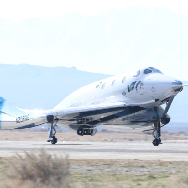 Virgin Galactic tweeted out this photo of SpaceShipTwo landing on Feb. 22, 2019, after making its second trip to space.