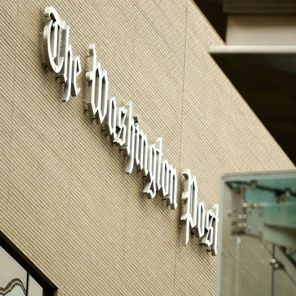 The logo for the Washington Post is displayed outside of its offices on May 1, 2009, in Washington, D.C. (Credit: Alex Wong/Getty Images)