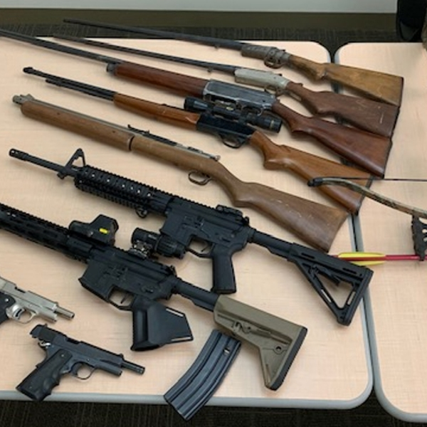 Deputies seized a cache of weapons, including two assault rifles, from the Moorpark home of a convicted felon named in a domestic violence restraining order on Feb. 15, 2019. (Credit: Ventura County Sheriff's Office)