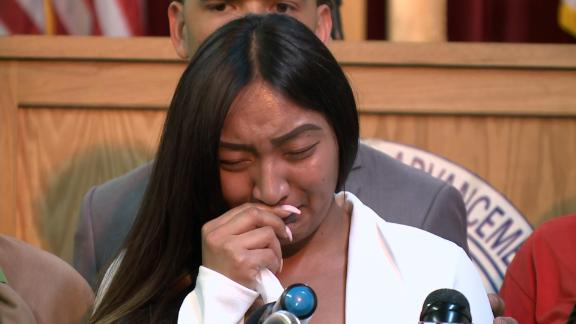 Stephon Clark's fiancée Salena Manni gives an emotional statement after the announcement on March 2, 2019 that the two officers who killed him would not be charged.