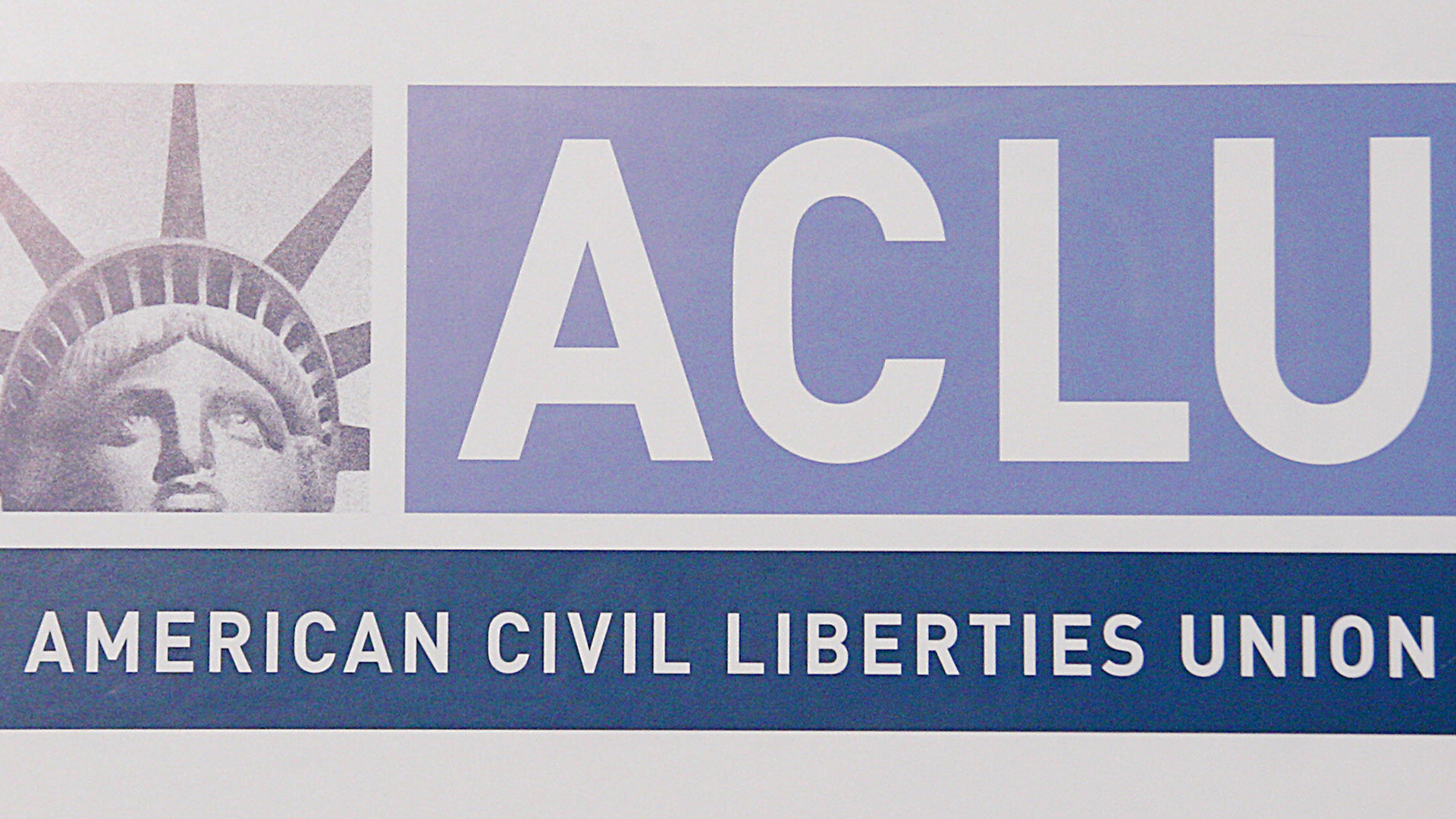 A sign for the American Civil Liberties Union (ACLU) is seen at a press conference in 2006. (Credit: KAREN BLEIER/AFP/Getty Images)