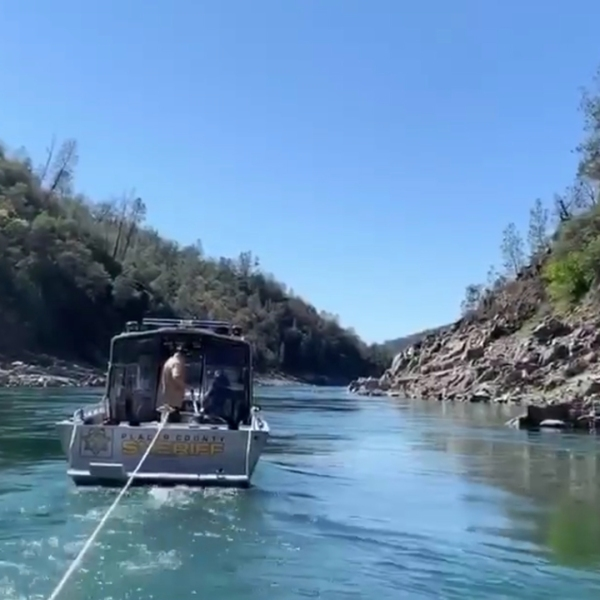 A search and rescue team looks for a man who fell in the American River on March 17, 2019. (Credit: Placer County Sheriff's Office)