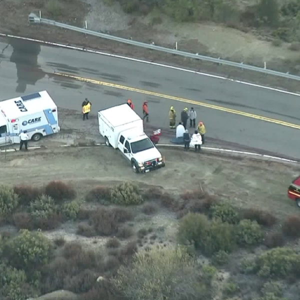 First responders attend to patients after a truck plunged off the Angeles Crest Highway on March 4, 2019. (Credit: Sky5)