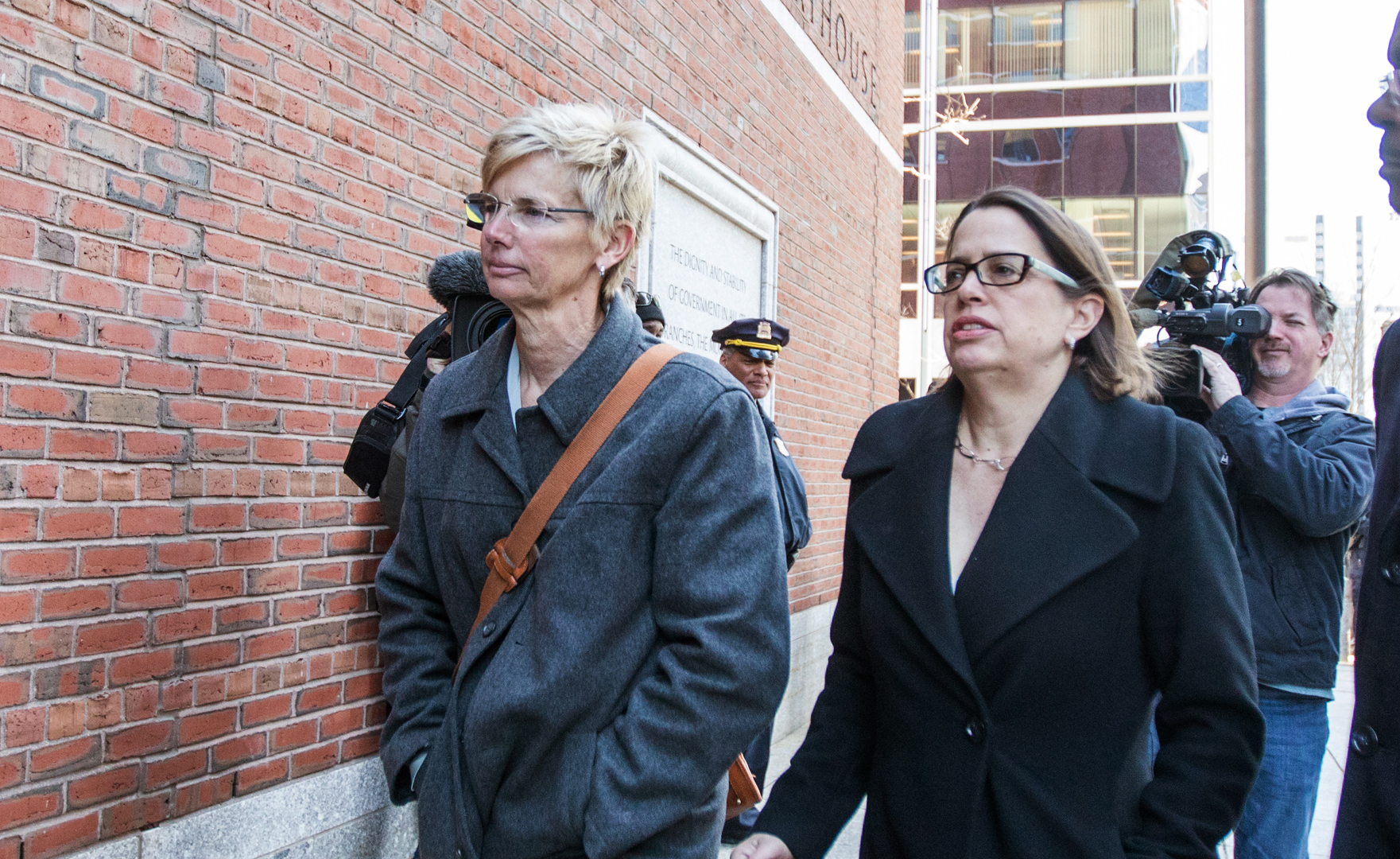 Donna Heinel, left, former senior associate athletic director at USC for her arraignment at Boston Federal Court on March 25, 2019 in Boston. (Credit: Scott Eisen/Getty Images)