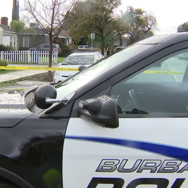 A Burbank police Department patrol car. is seen after a shooting on March 2, 2019. (KTLA)