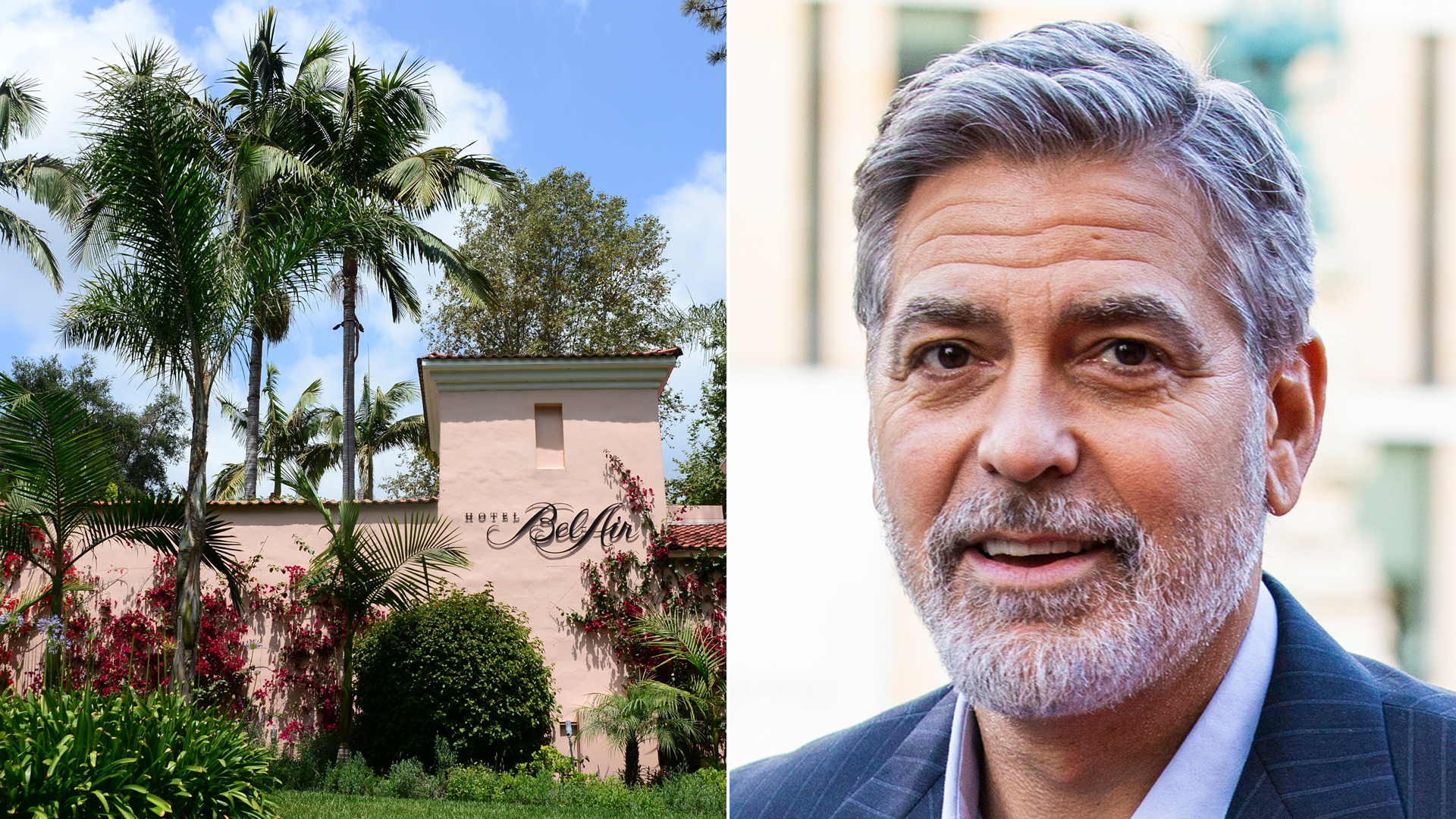 From right: The Bel-Air Hotel in Los Angeles, owned by the Sultan of Brunei, is shown on May 7, 2014, and George Clooney attends the charity gala in Edinburgh, Scotland, on March 15, 2019. (Credit: Frederic J. Brown / Duncan McGlynn / AFP / Getty Images)