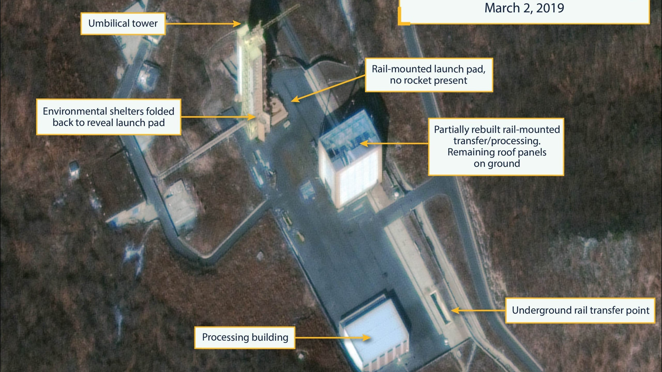 Commercial satellite imagery acquired on March 2, 2019 by the Center for Strategic International Studies and Beyond Parallel shows that North Korea is pursuing a rapid rebuilding of the long-range rocket site at Sohae. (Credit: CNN)