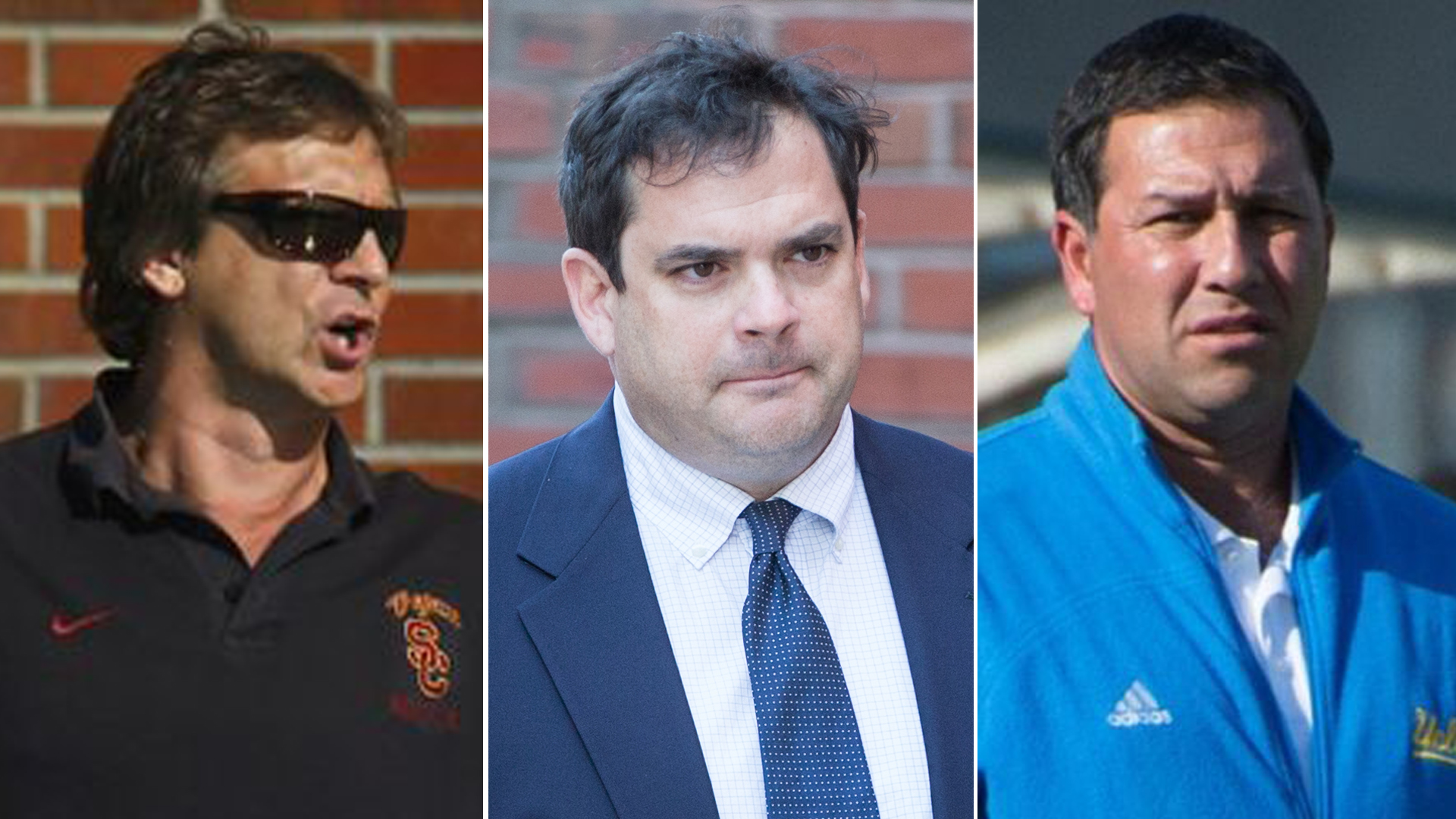 From left: USC water polo coach Jovan Vavic in 2012; Stanford University sailing coach John Vandemoer arrives at federal court in Boston on March 12, 2019; and UCLA men's soccer coach Jorge Salcedo in 2014. (Credit: Los Angeles Times / Getty Images / UCLA Athletics)