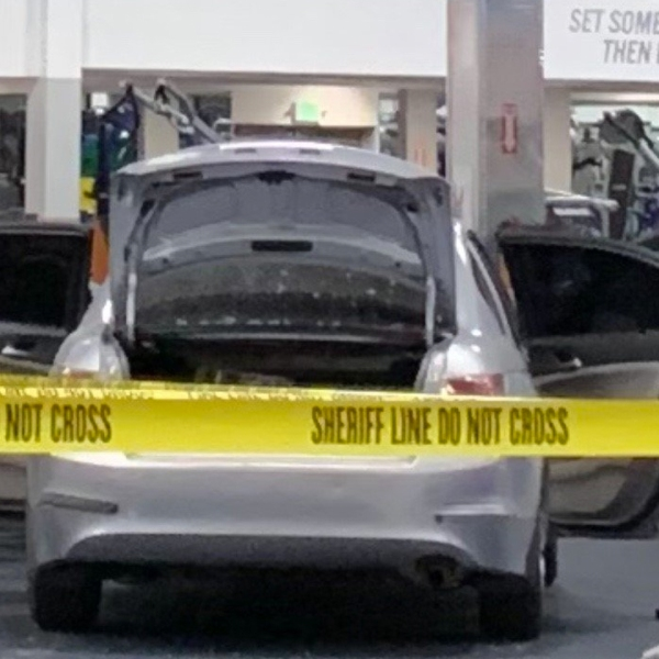 A car is seen after crashing into a gym in La Mirada on March 19, 2019. (Credit: Los Angeles County Sheriff's Department)
