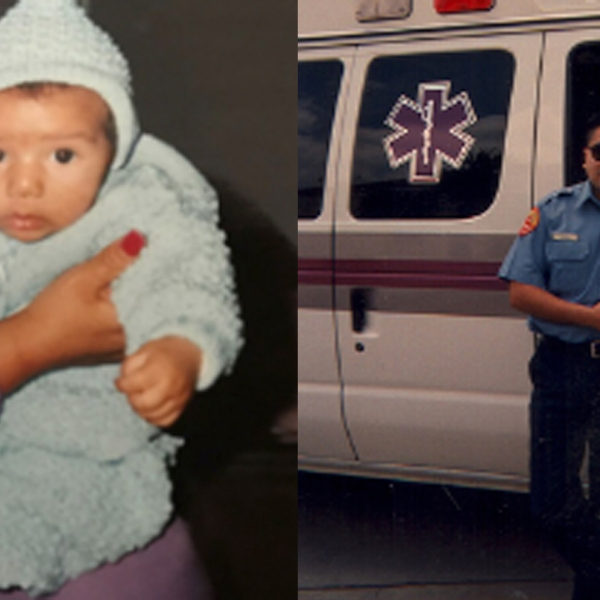 El Monte police released these 1993 photos of Baby Tyler Blue Dominguez, left, and Chris Cano.