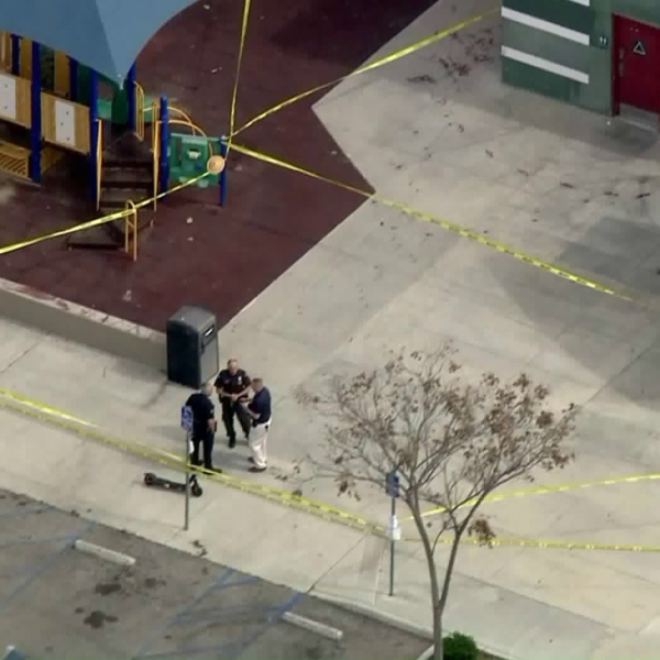 Officials investigate after blood and swastikas were found at Pan Pacific Park in Fairfax on March 4, 2019. (Credit: KTLA)