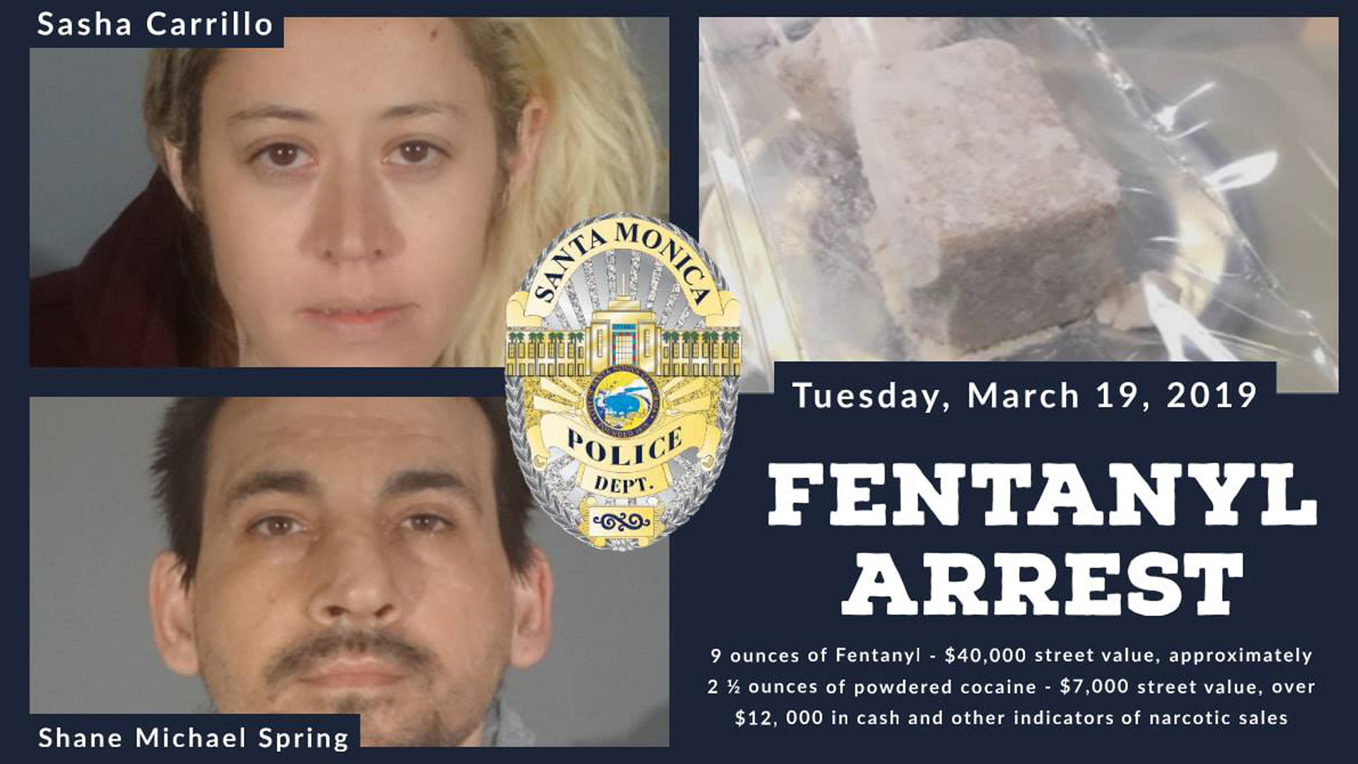 Sasha Carrillo, 33, of Santa Monica and Shane Michael Spring, 36, of Santa Monica, pictured in photo released by the Santa Monica Police Department on March 20, 2019.