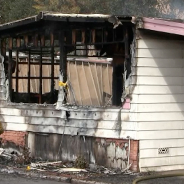A mobile home in Westminster is seen burned after a fire broke out on March 9, 2019. (Credit: OC Hawk)