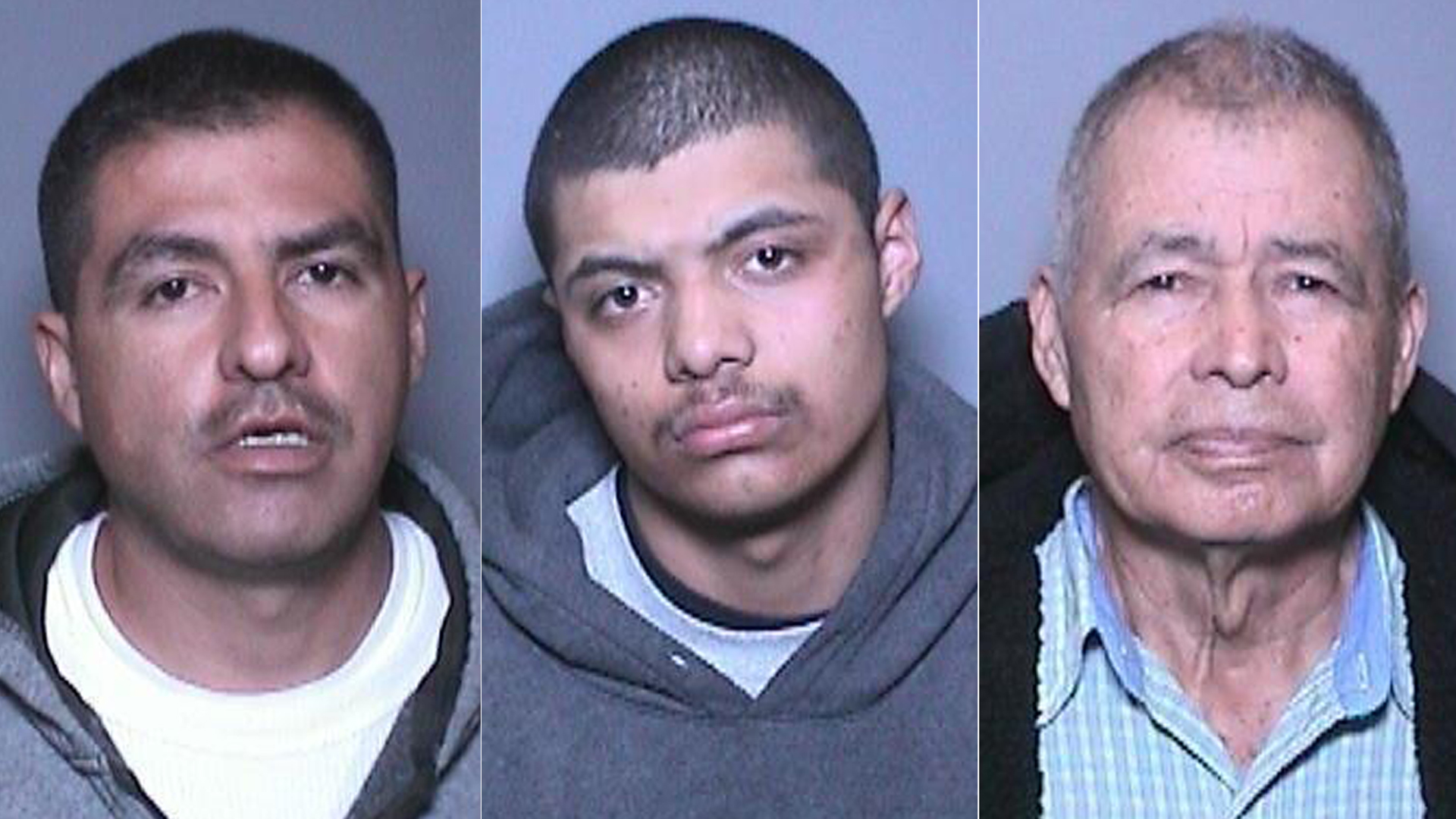From left to right: Carlos Castaneda, 35; Tommy Antonio Navarette, 19; andSalvador Duran Castaneda, 72, are seen in undated booking photos. (Credit: Orange County District Attorney's Office)