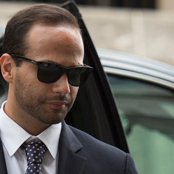 Foreign policy advisor to Donald Trump's election campaign, George Papadopoulos, arrives at U.S. District Court for his sentencing in Washington, D.C. on Sep. 7, 2018. (Credit: Andrew Cabarello-Reynolds/AFP/Getty Images)