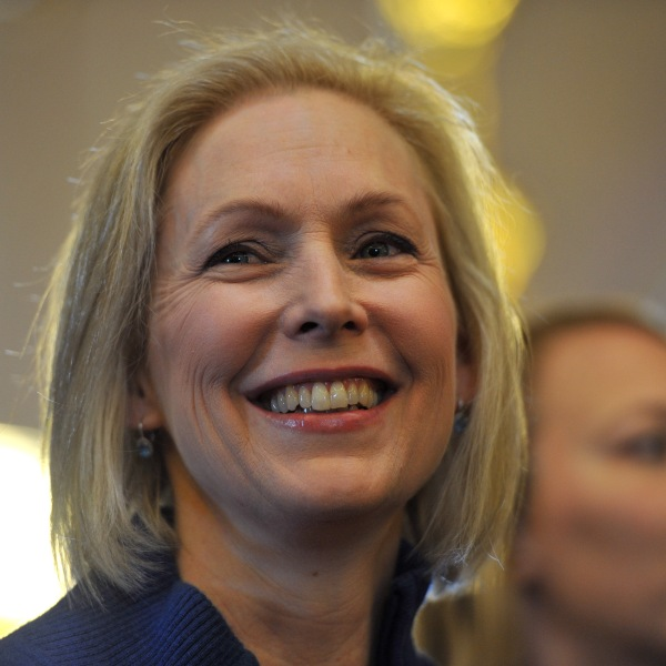 U.S. Sen. Kirsten Gillibrand (D-NY) speaks to a large crowd at the state capitol for the third annual Women's March on Jan. 19, 2019, in Des Moines, Iowa. (Credit: Steve Pope/Getty Images)