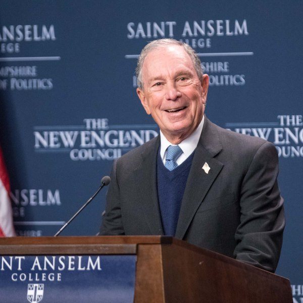 Former New York City Mayor Michael Bloomberg speaks about the climate at the New Hampshire Institute of Politics during a exploratory trip on Jan. 29, 2019, in Manchester, New Hampshire. (Credit: Scott Eisen/Getty Images)