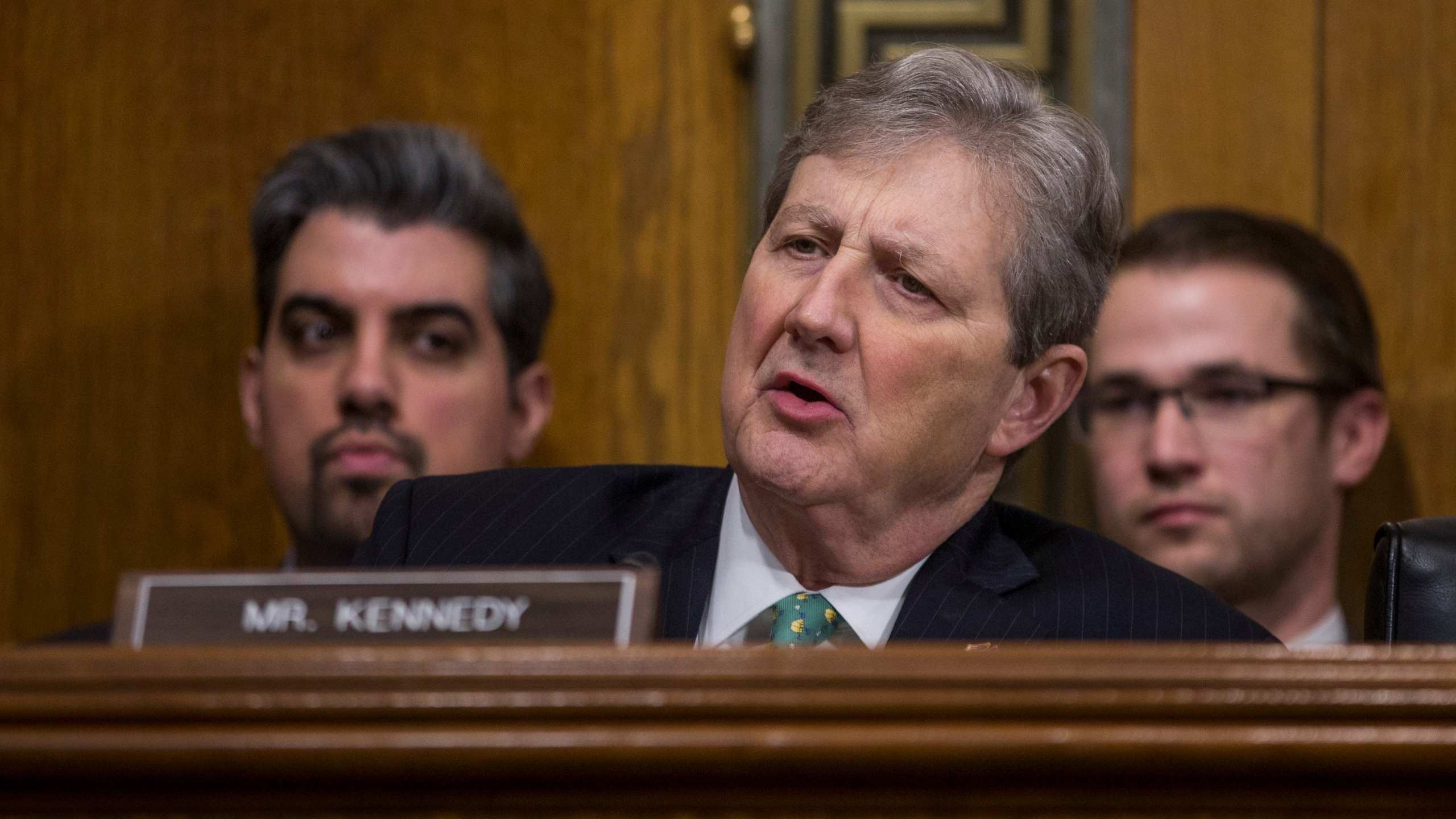 Sen. John Kennedy (R-LA) speaks during a Senate Judiciary confirmation hearing for Neomi Rao, President Donald Trump's nominee to be U.S. circuit judge for the District of Columbia Circuit, on Capitol Hill on February 5, 2019 in Washington, DC.(Credit: Zach Gibson/Getty Images)