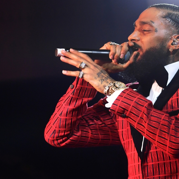 Nipsey Hussle performs at the Warner Music Pre-Grammy Party at the NoMad Hotel on Feb. 7, 2019, in Los Angeles. (Credit: Matt Winkelmeyer/Getty Images for Warner Music)