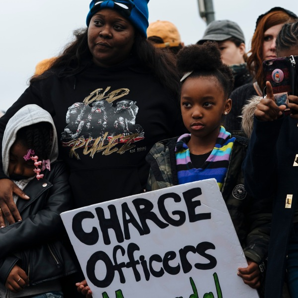 Demonstrators gathered outside of the Sacramento Police Department on March 2, 2019. (Credit: Mason Trinca / Getty Images)