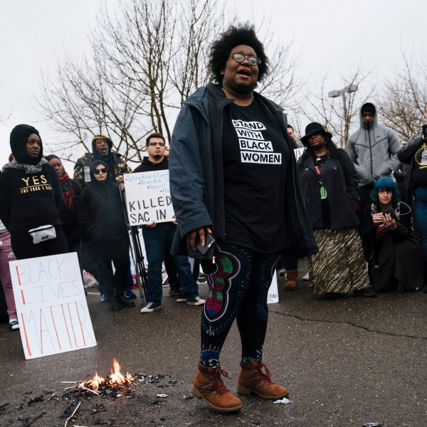 Demonstrators gathered outside of the Sacramento Police Department on March 2, 2019. (Credit: Mason Trinca/Getty Images)