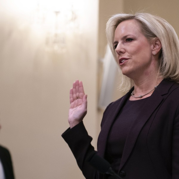 Homeland Security Secretary Kirstjen Nielsen is sworn in as she testifies before the House Homeland Security Committee on border security on Capitol Hill in Washington, D.C., on March 6, 2019. (Credit: JIM WATSON/AFP/Getty Images)