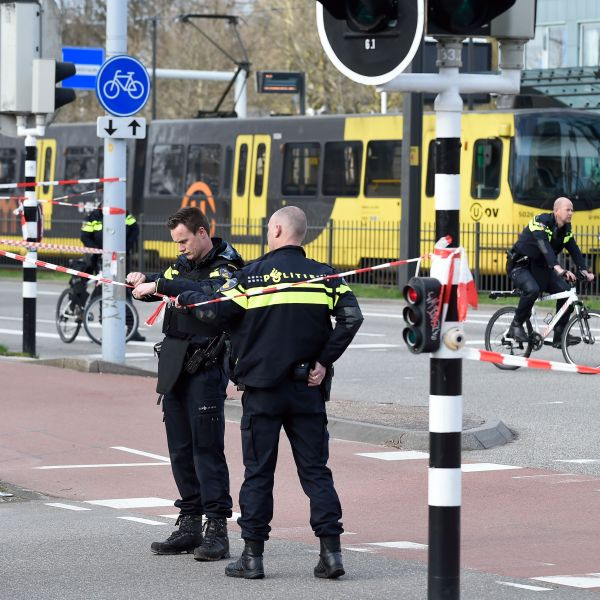 Police at work on March 18, 2019, in the Dutch city of Utrecht, near a tram where a gunman opened firein a possible terrorist incident. (Credit: JOHN THYS/AFP/Getty Images)