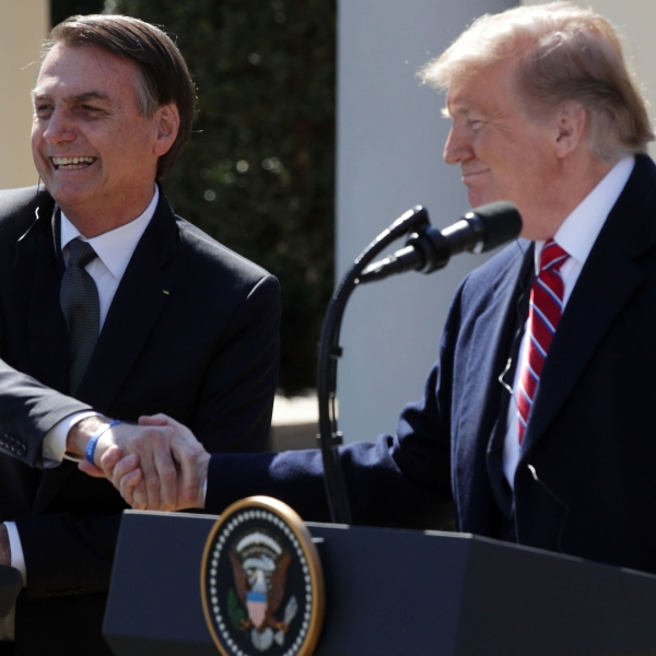 U.S. President Donald Trump and Brazilian President Jair Bolsonaro participate in a joint news conference at the Rose Garden of the White House on March 19, 2019, in Washington, D.C. (Credit: Alex Wong/Getty Images)