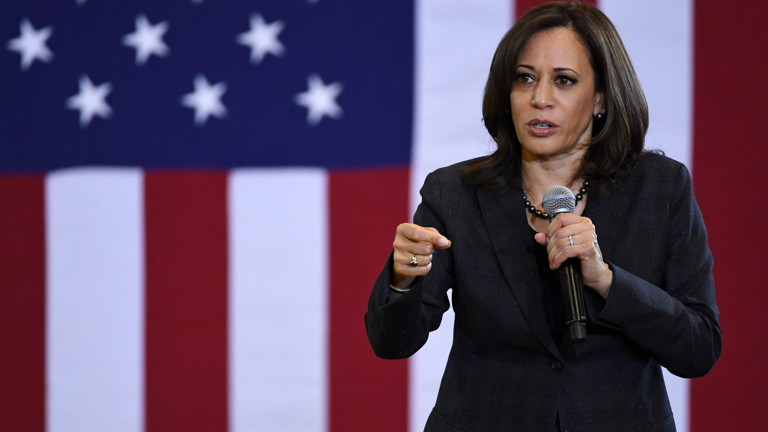 U.S. Sen. Kamala Harris (D-CA) speaks during a town hall meeting at Canyon Springs High School on March 1, 2019 in North Las Vegas. (Credit: Ethan Miller/Getty Images)