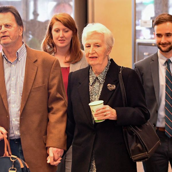 Edwin Hardeman, left, departs with his wife Mary Hardeman, second from right, after winning his case against Monsanto in San Francisco on March 27, 2019. (Credit: Josh Edelson / AFP / Getty Images)