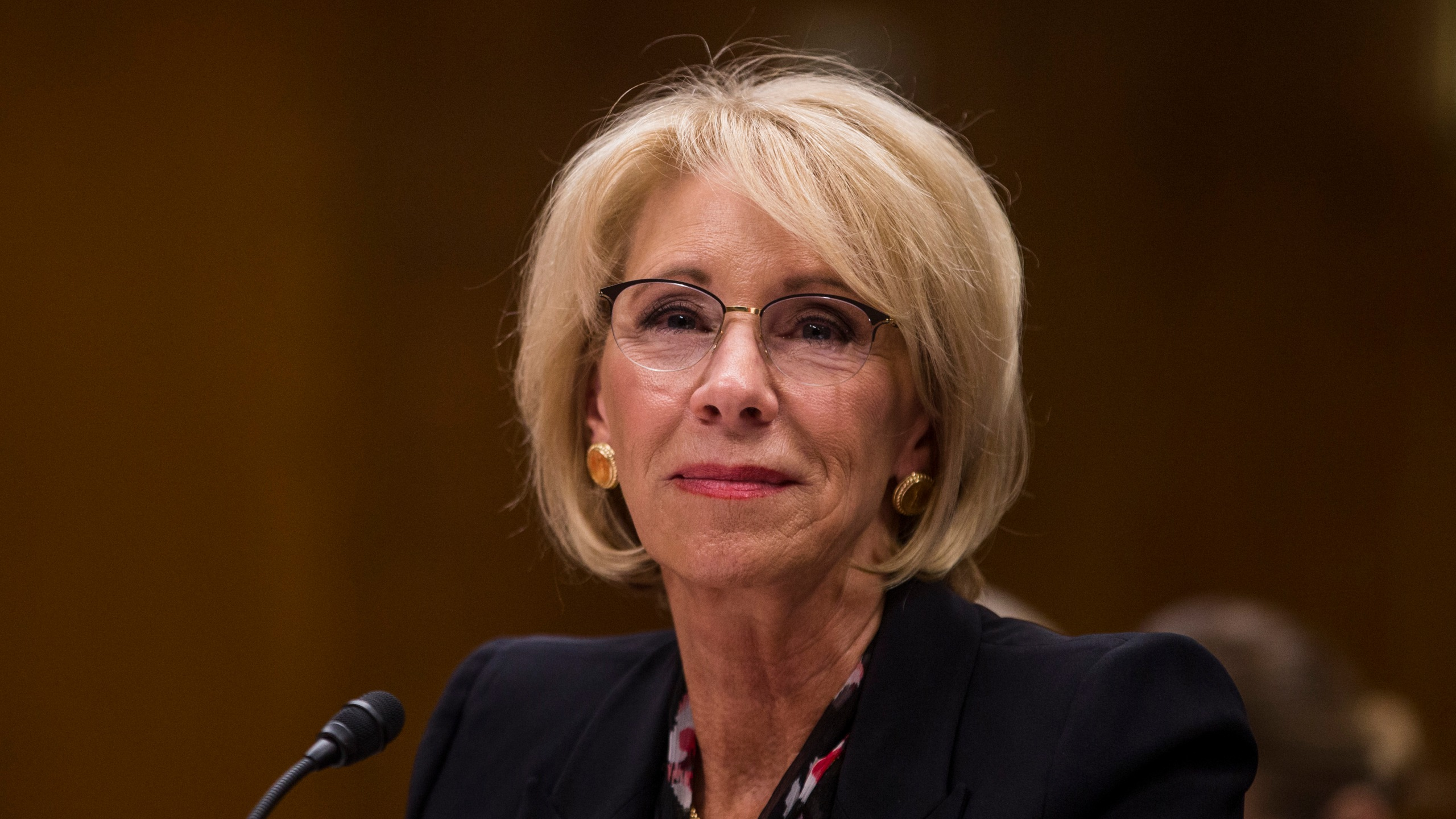 Secretary of Education Betsy DeVos testifies during a Senate subcommittee meeting discussing her department's proposed budget estimates and justification for fiscal year 2020 on March 28, 2019. (Credit: Zach Gibson / Getty Images)